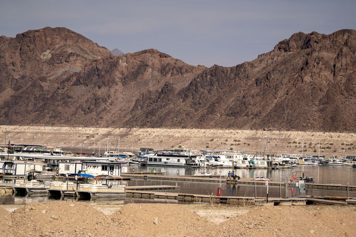 Boats docked at Lake Mead in Boulder City, Nevada, U.S., on Wednesday, June 16, 2021.