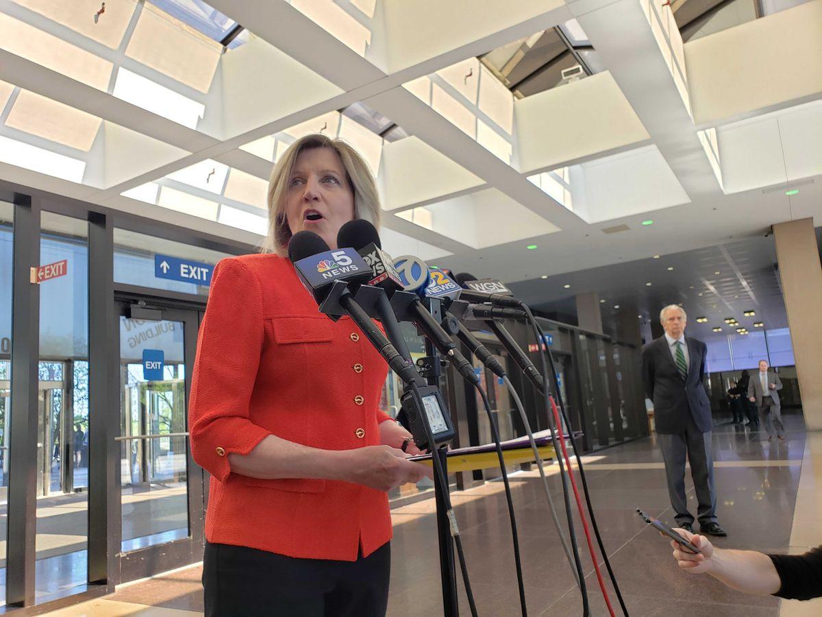 Sheila O'Brien speaks to reporters