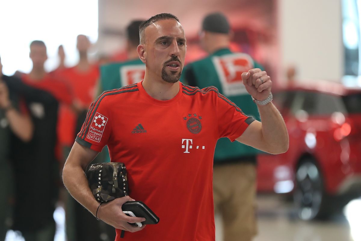MUNICH, GERMANY - MAY 12: Franck Ribery of Bayern Muenchen arrives at the arena before the Bundesliga match between FC Bayern Muenchen and VfB Stuttgart at Allianz Arena on May 12, 2018 in Munich, Germany.