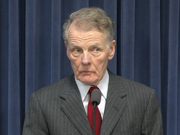 House Speaker Mike Madigan listens to a reporter's question at a news conference in Springfield earlier this year. Screen image.