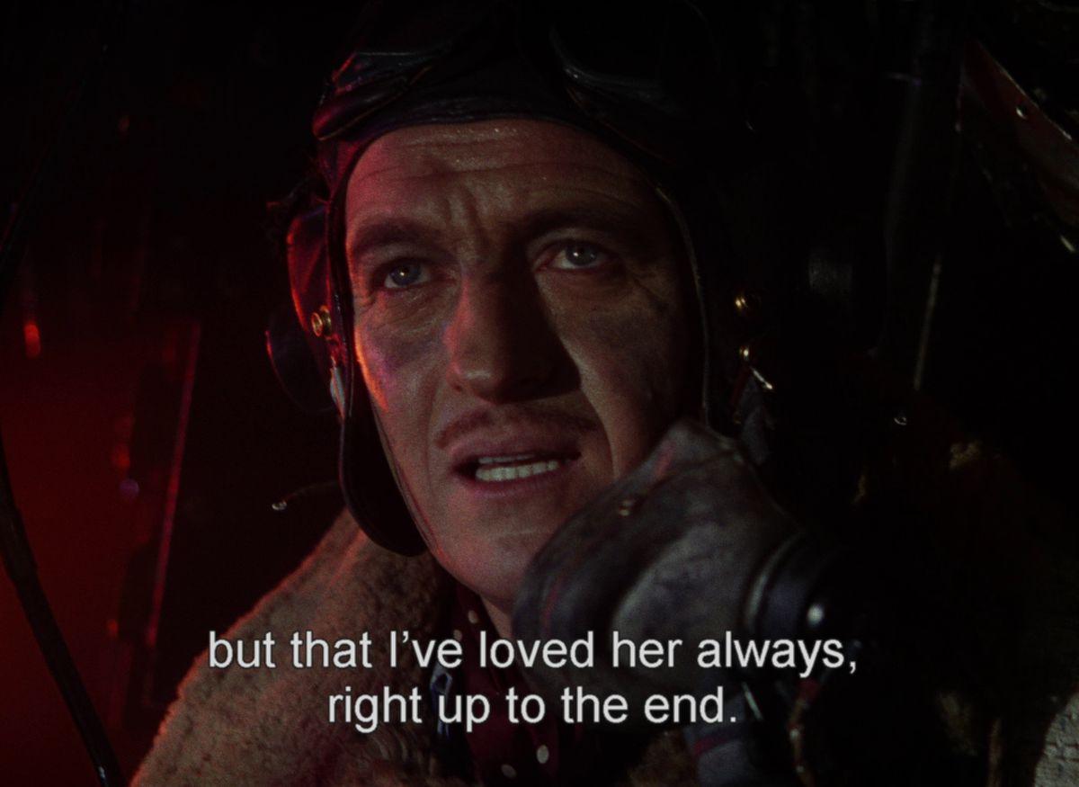 Peter (David Niven) prepares to crash land his plane while talking to June on the transmitter