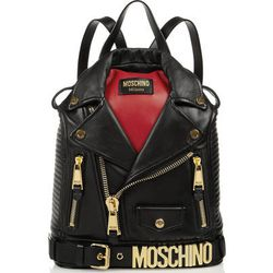 """We live in a world where Jeremy Scott runs <b>Moschino</b>, and in it is this <i>tromp l'oeil</i> biker backpack, <a href=""""http://www.net-a-porter.com/product/465327/Moschino/biker-leather-backpack"""">$2,300</a>, so you can confuse everyone with a tiny fron"""