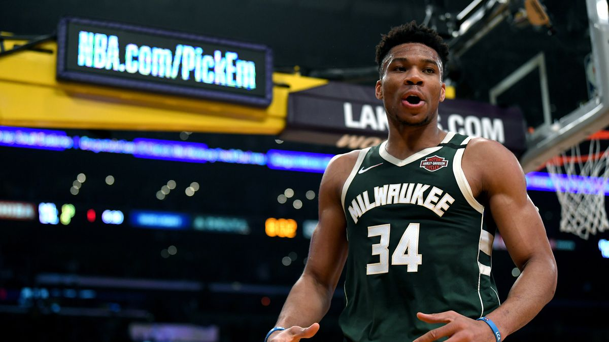 Giannis Antetokounmpo of the Milwaukee Bucks reacts after a blocked shotagainst the Lakers on March 6.