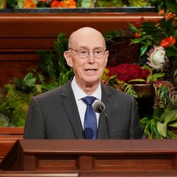 President Henry B. Eyring, second counselor in the First Presidency of The Church of Jesus Christ of Latter-day Saints, speaks during the Saturday morning session of the church's 191st Semiannual General Conference at the Conference Center in Salt Lake City on Oct. 2, 2021.
