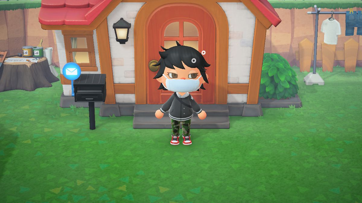 An Animal Crossing character sleepily emerges from her house with bed head