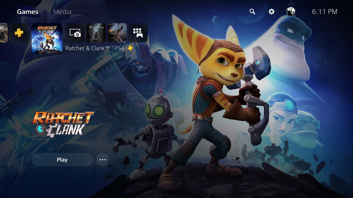 The dashboard of a PS5 showing Ratchet & Clank