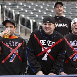 New York Mets fans heckle Miami Marlins' Jose Reyes, previously a Met, before a baseball game on Tuesday, April 24, 2012, at Citi Field in New York.