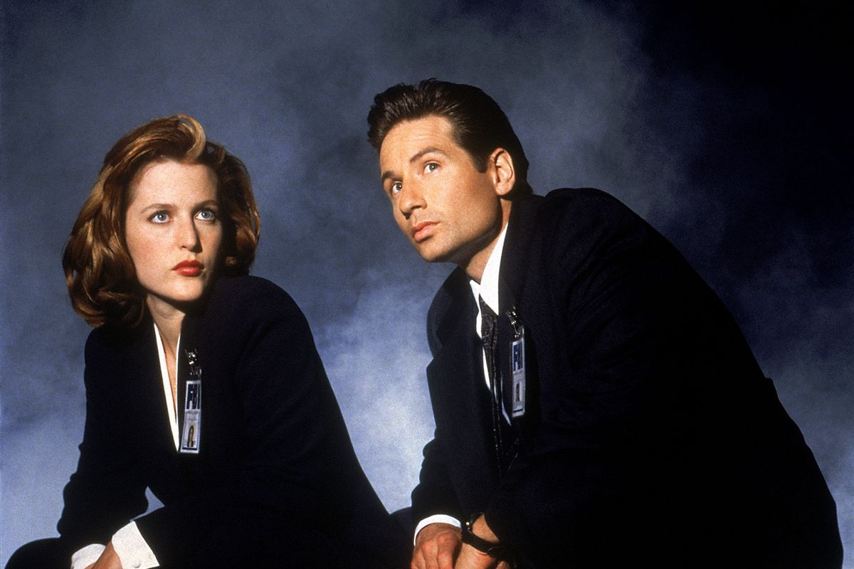 Gillian Andersen as Scully and David Duchovny as Mulder in The X-Files.
