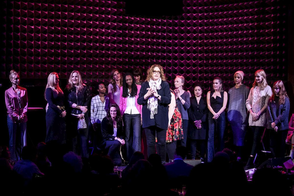 """The cast of """"The Pussy Grabber Plays"""" takes the stage with women whose stories inspired the show, on January 14, 2019 at Joe's Pub in Manhattan"""