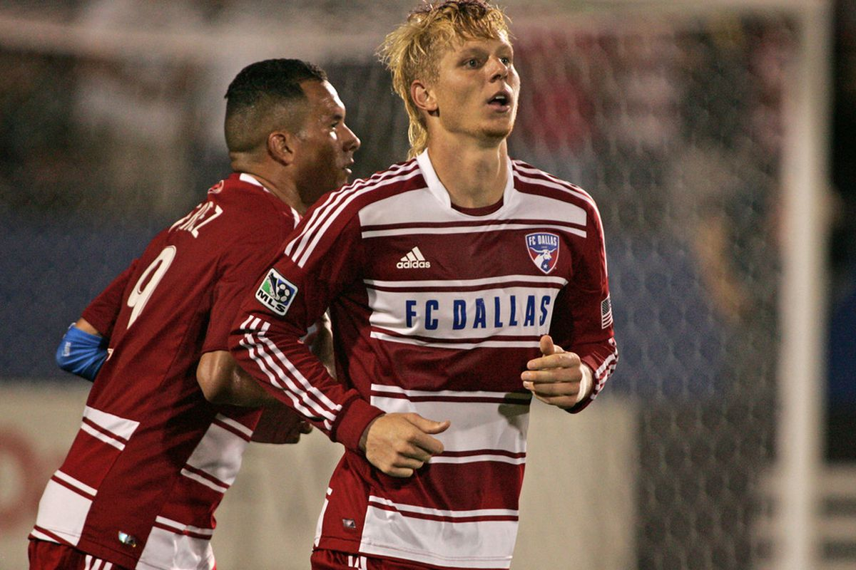 FRISCO, TX - APRIL 14:   Brek Shea #20 of FC Dallas runs upfield after scoring against the Montreal Impact at FC Dallas Stadium on April 14, 2012 in Frisco, Texas.  Dallas defeated Montreal 2-1.  (Photo by Brett Deering/Getty Images)