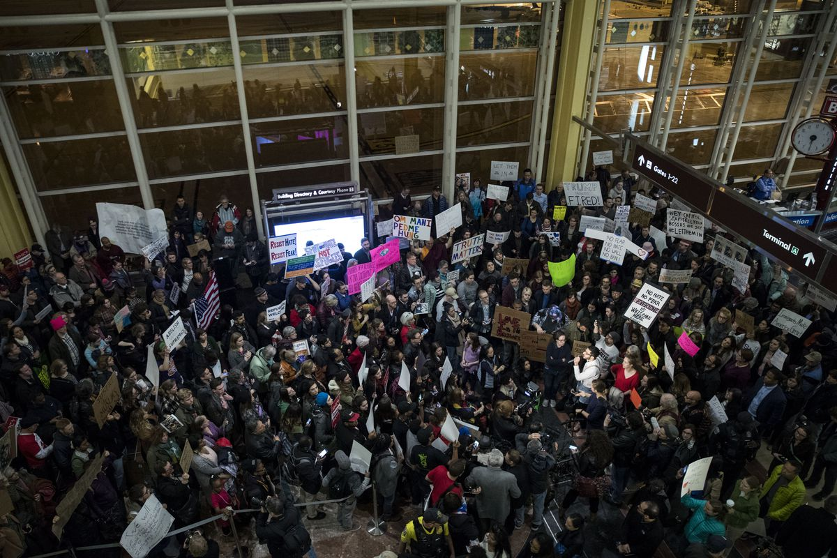 Demonstration Held At Reagan National Airport Against Trump's Recent Immigration Policy