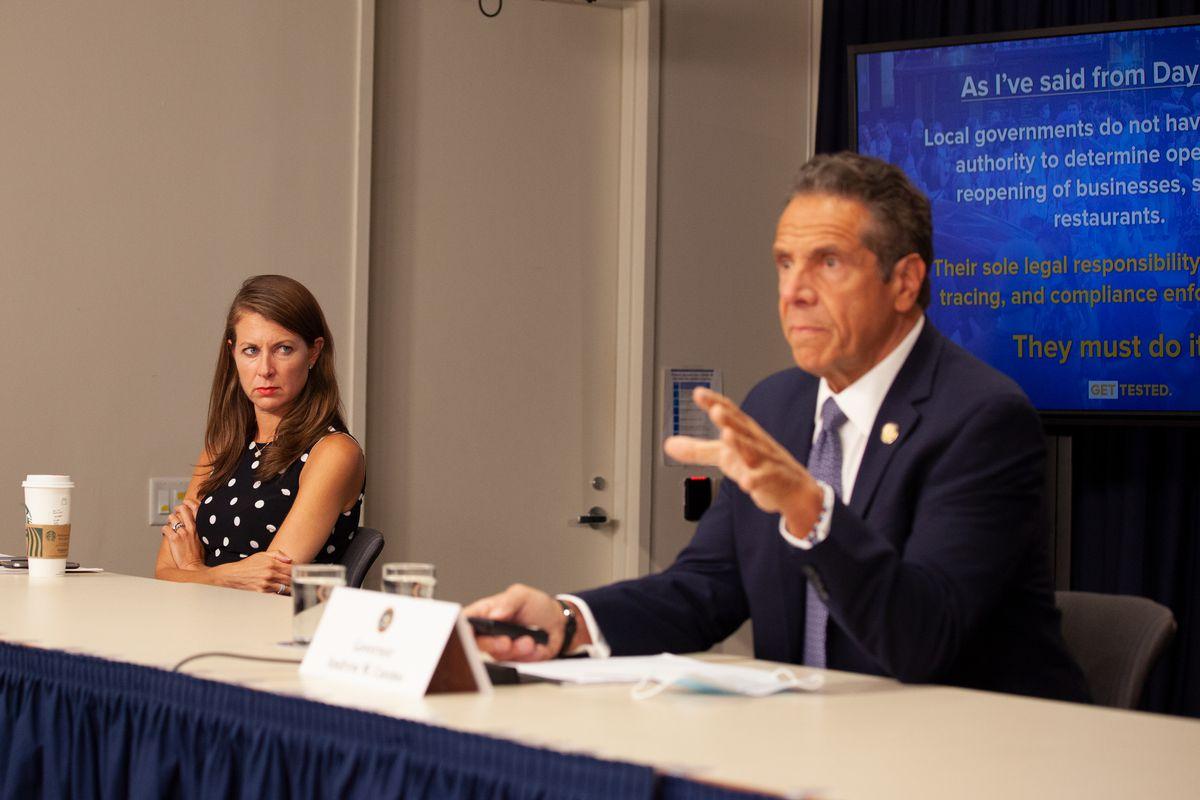 Governor Andrew Cuomo aide Melissa DeRosa attends a coronavirus press conference in Manhattan, July 1, 2020.