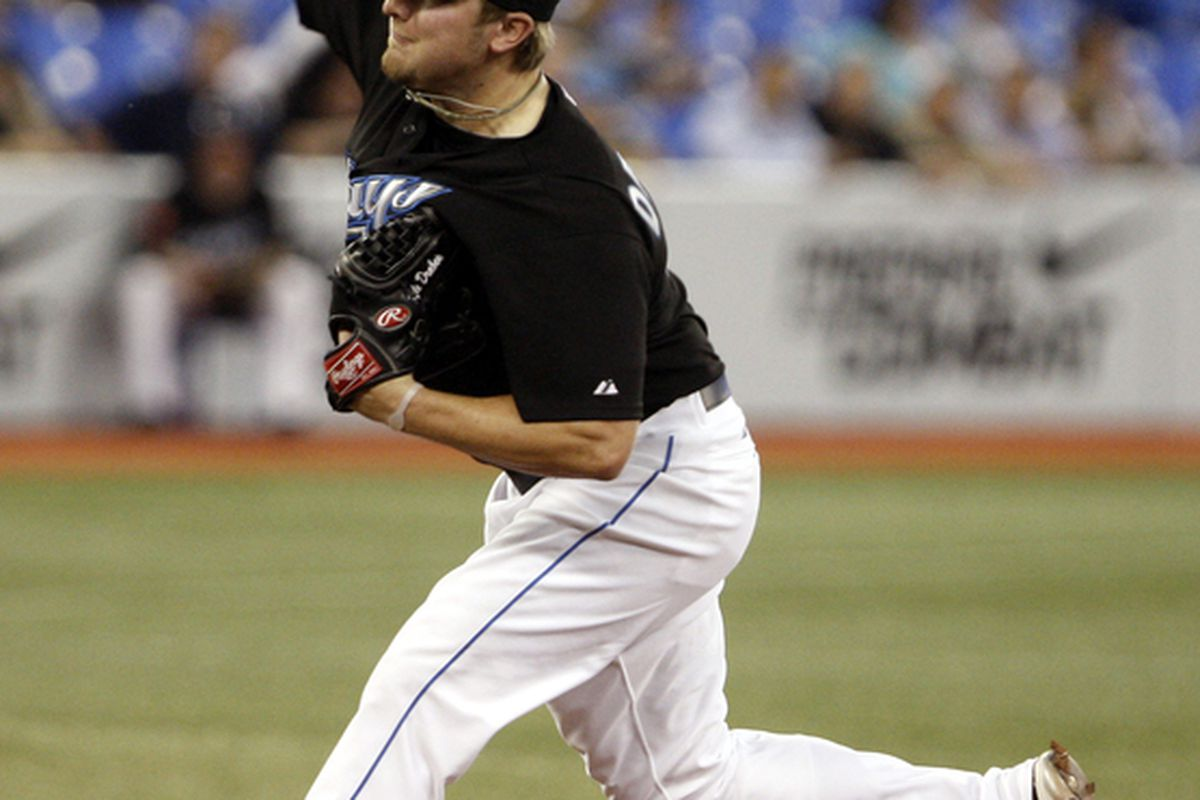 Kyle Drabek of the Toronto Blue Jays throws agianst the New York Yankees during an MLB game at the Rogers Centre September 28 2010 in Toronto Ontario Canada. (Photo by Abelimages/Getty Images)
