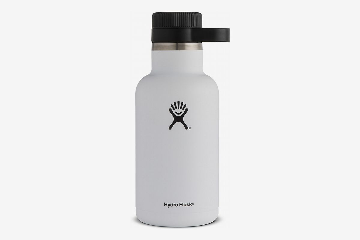 A white vacuum-insulated growler from Hydro Flask