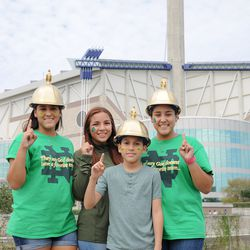 SAN ANTONIO, TX - NOVEMBER 12: Notre Dame fans stand ready for battle during the tailgate near the Alamodome before the NCAA football game between the Army Black Knights and Notre Dame Fighting Irish on November 12, 2016 at the Alamodome, San Antonio, TX