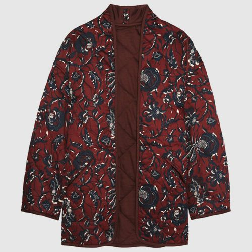 Quilted maroon coat with navy blue floral design.