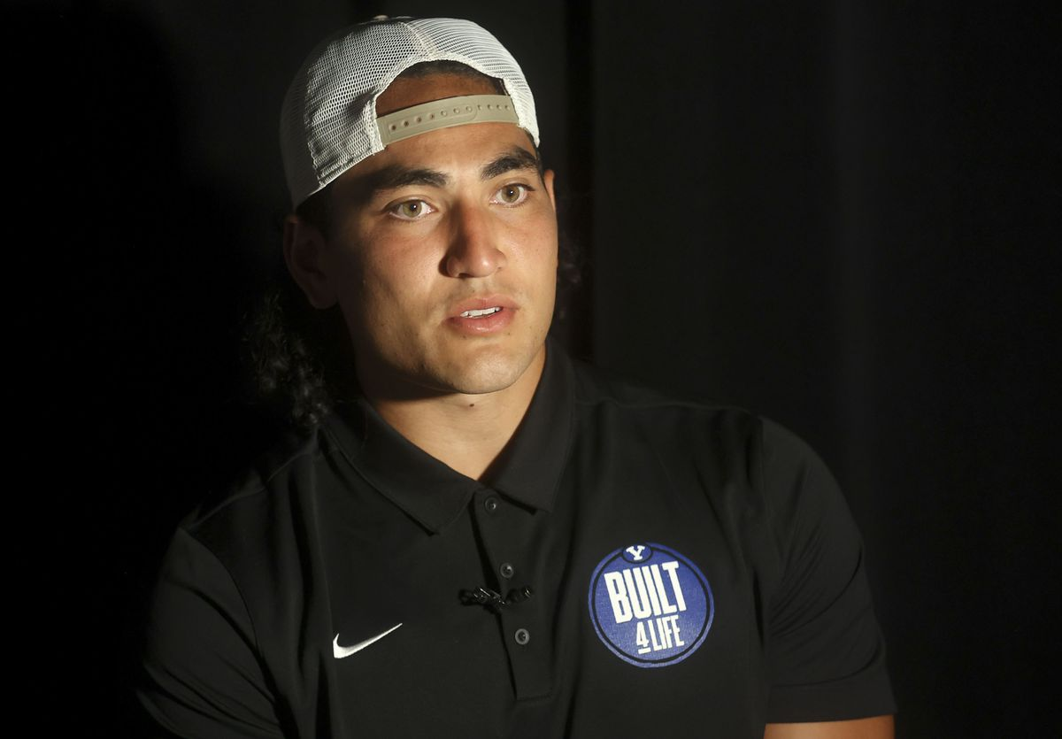 BYU linebacker Keenan Pili talks to media during BYU football media day at the BYU Broadcasting Building in Provo on Thursday, June 17, 2021.