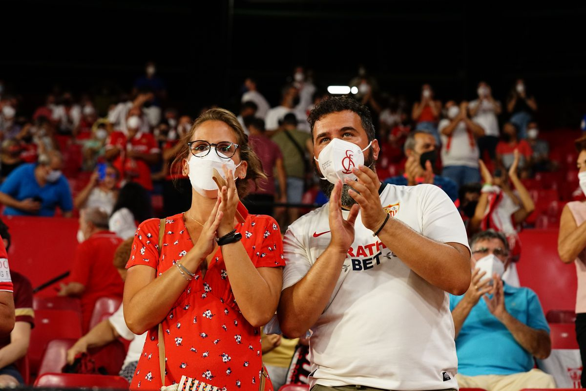 Sevilla FC fans seen inside Ramon Sanchez Pizjuan Stadium...