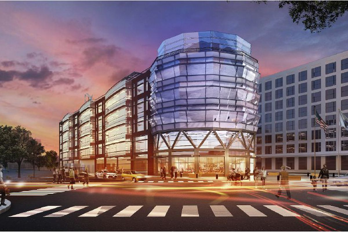 Rendering of a very shiny and bright five-story commercial building on a busy street corner.