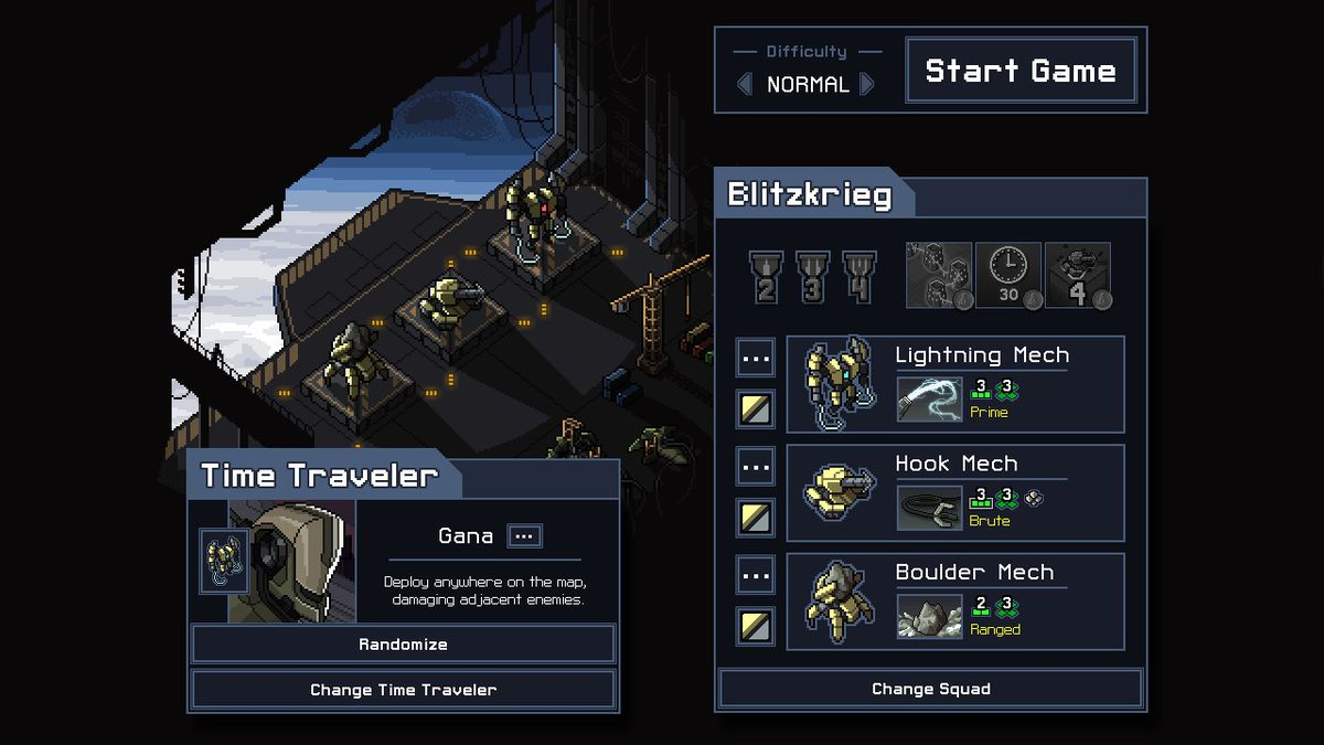 Into the Breach - The hanger where each playthrough begins. Mechs drop from orbit onto the battlefield.