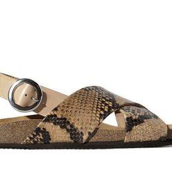 "<b>Zara</b> Printed Leather Crossover Sandal, </a href=""http://www.zara.com/us/en/woman/shoes/printed-leather-crossover-sandal-c358009p1834551.html"">$99.90</a>"
