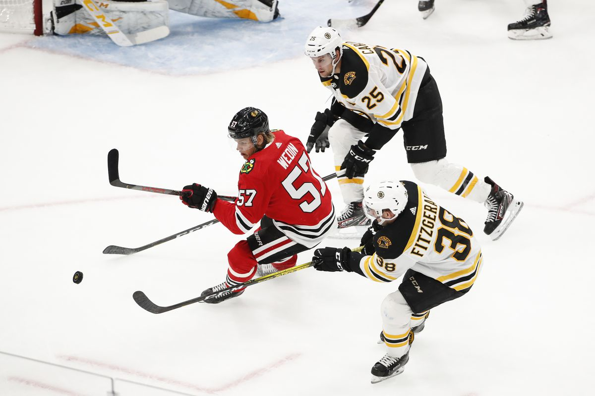 Blackhawks experiment with Anton Wedin in center role against Bruins