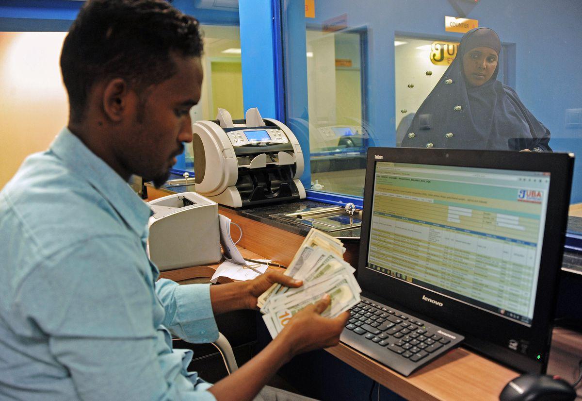 Cash at remittance office, Somalia