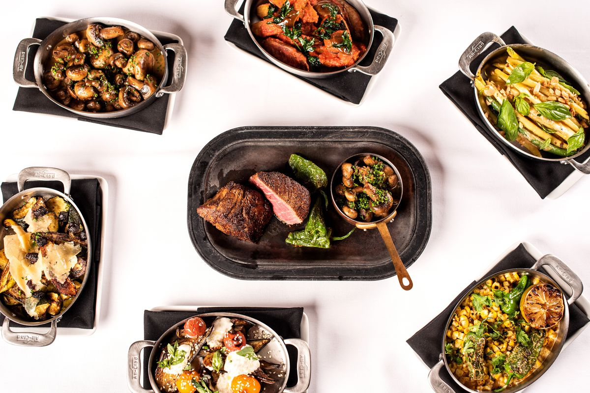 Pictured dishes include summer pole beanswith almond butter, patatas bravas, and of course, a steak