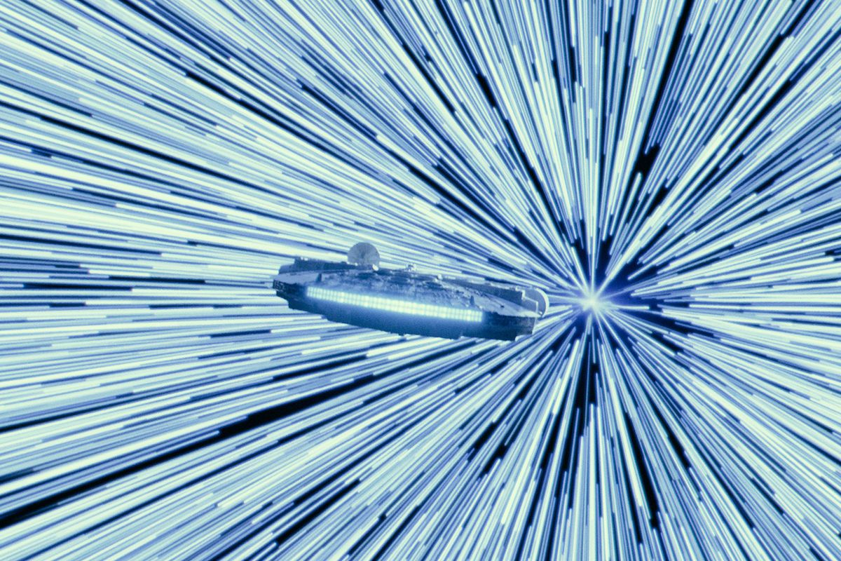 The Millennium Falcon warps into hyperdrive in a still from Star Wars: The Rise of Skywalker