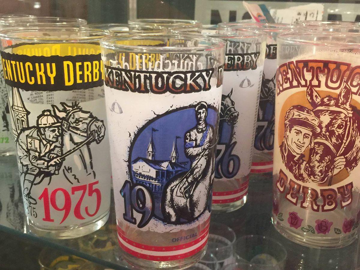 Kentucky Derby themed glassware
