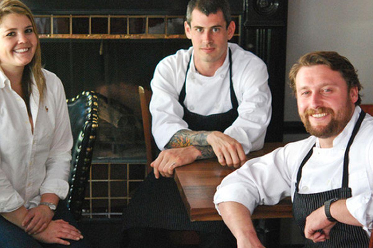 [from left] Sommelier Carlin Karr, Teague Moriarity, Matt McNamara.