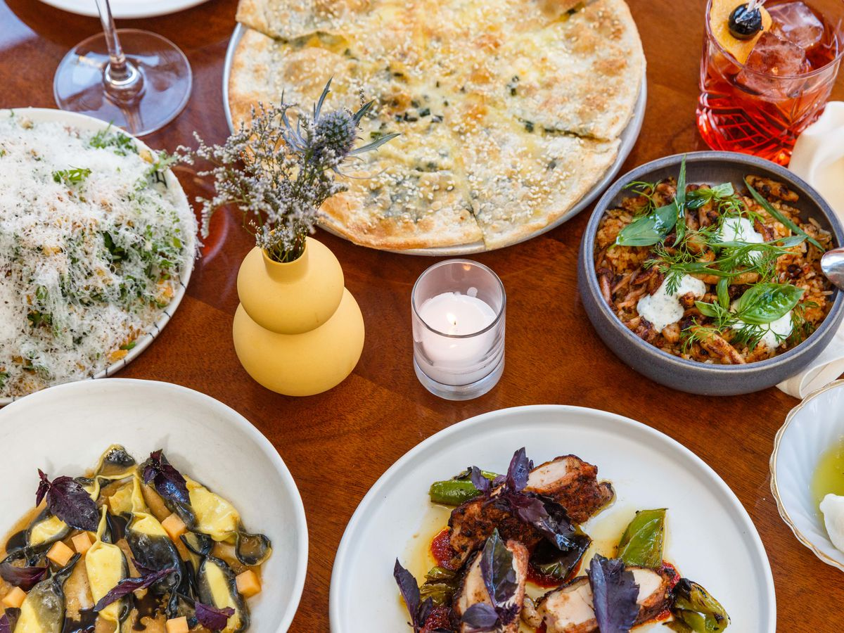 A spread of Italian-American dishes at Don Angie