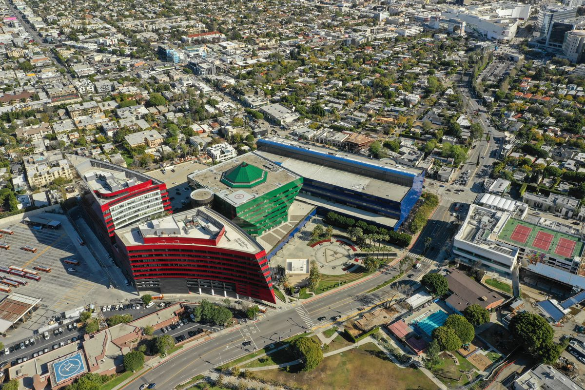 Aerial photo of Los Angeles Pacific Design Center.
