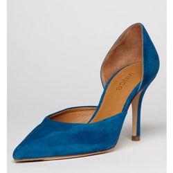 """<b>vince.</b> Celeste Suede Pump in blue, <a href=""""http://www.vince.com/celeste-blue-suede-pump/invt/vnb8497l2/&bklist=icat,4,shop,women,wshoes#"""">$350</a>"""
