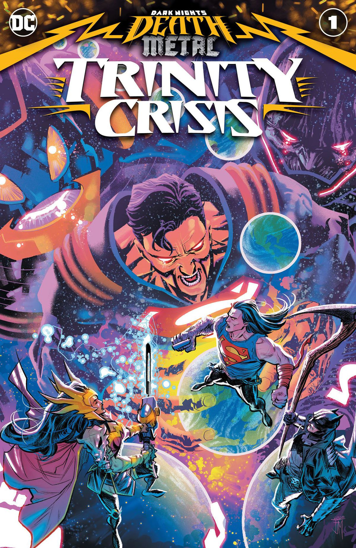 Superman, Batman, and Wonder Woman face the Anti-Monitor, Superboy Prime, and Darkseid on the cover of Dark Nights: Death Metal Trinity Crisis, DC Comics (2020).