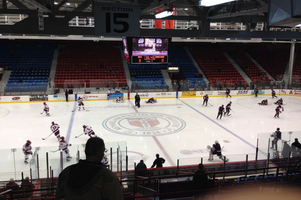 RPI and Harvard on the ice at Houston Field House for pregame warmups.