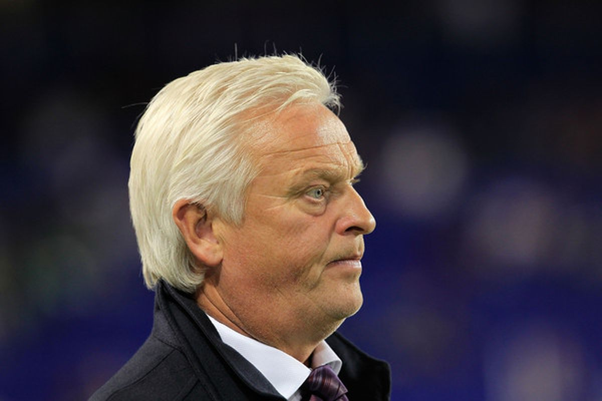 <strong>Hans Backe</strong> the coach of the New York Red Bulls.  (Photo by Chris Trotman/Getty Images)