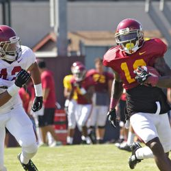 Now at RB, RS Senior Anthony Brown outruns Uchenna Nwosu to the outside.