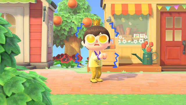 Animal Crossing: New Horizons - a player quivers in fear outside Nook's Cranny