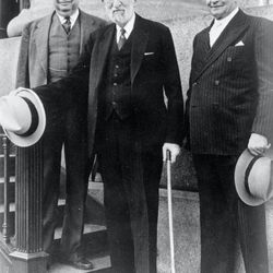 The First Presidency of the LDS Church in April 1942. Left, J. Ruben Clark, President Heber J. Grant and David O. McKay.