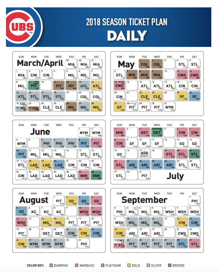 Cubs Schedule 2020 Printable.Cubs Release 2018 Season Ticket Pricing Bleed Cubbie Blue