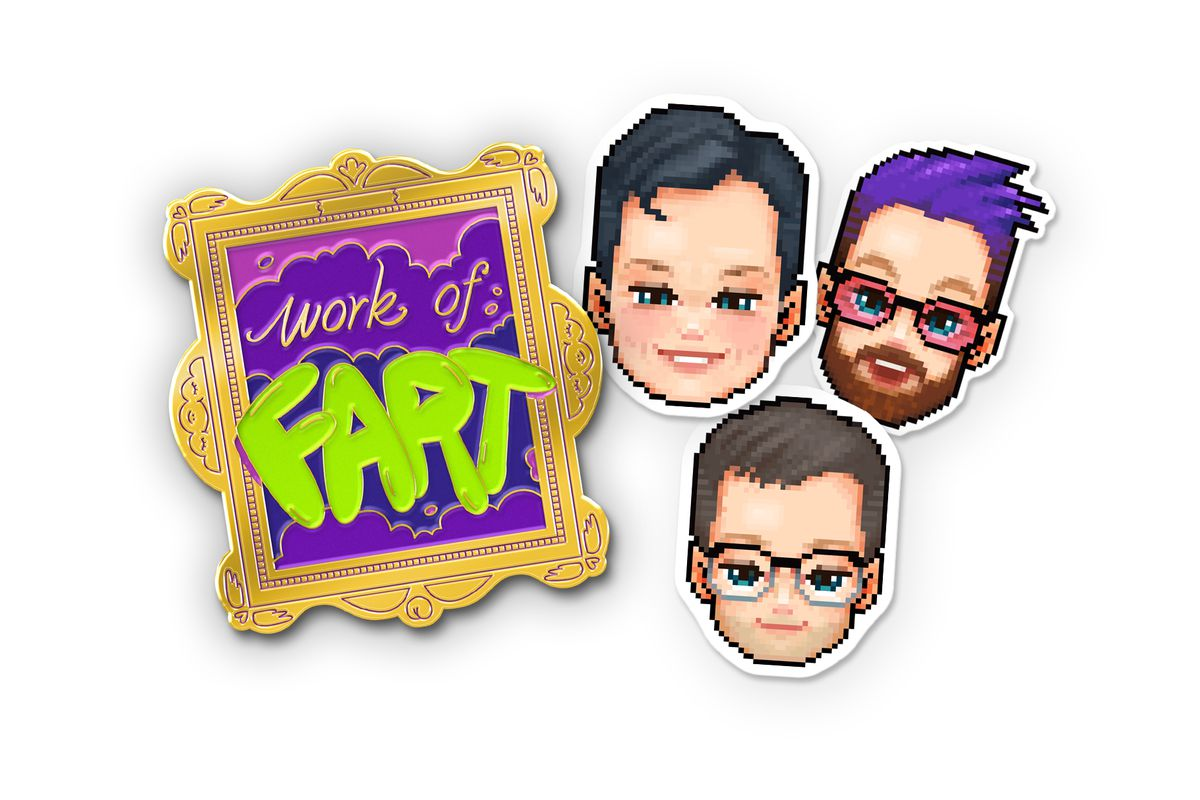 """On the left is an enamel pin that says, """"Work of FART,"""" in an ornate gold frame. It has purple clouds in the background. 'FART' is written in bright green bubble letters. On the right are three pixel art stickers of the McElroy brothers' faces."""