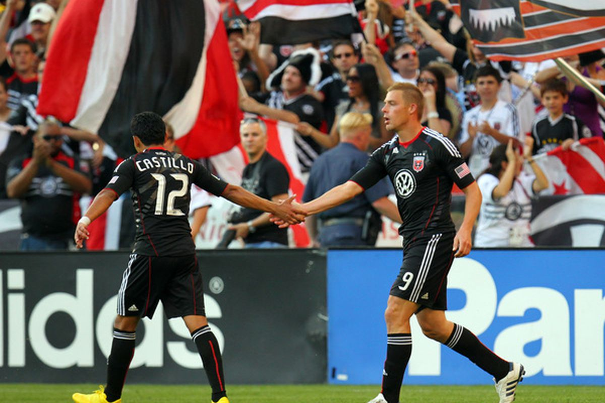 WASHINGTON - MAY 5: Danny Allsopp #9 of D.C. United celebrates after his first goal with Christian Castillo #12 against the Kansas City Wizards at RFK Stadium on May 5, 2010 in Washington, DC. (Photo by Ned Dishman/Getty Images)