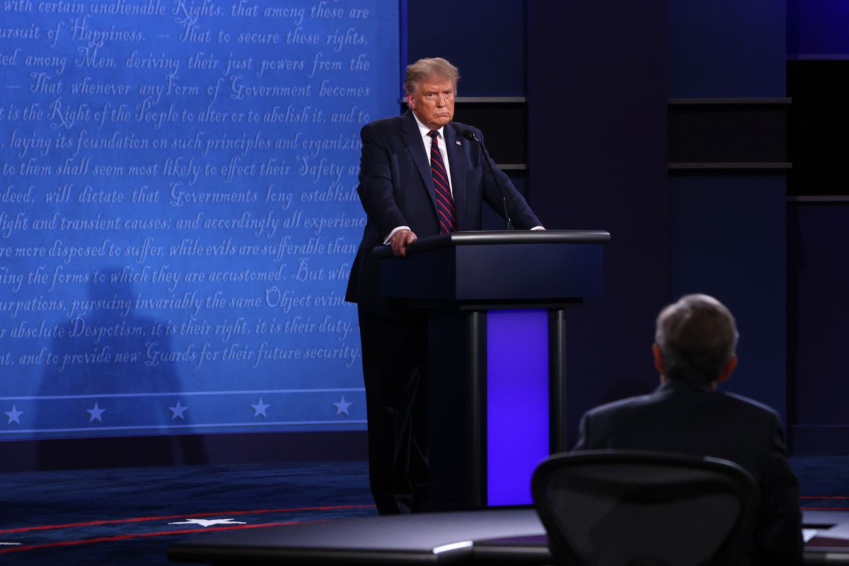 President Donald Trump at the first presidential debate.