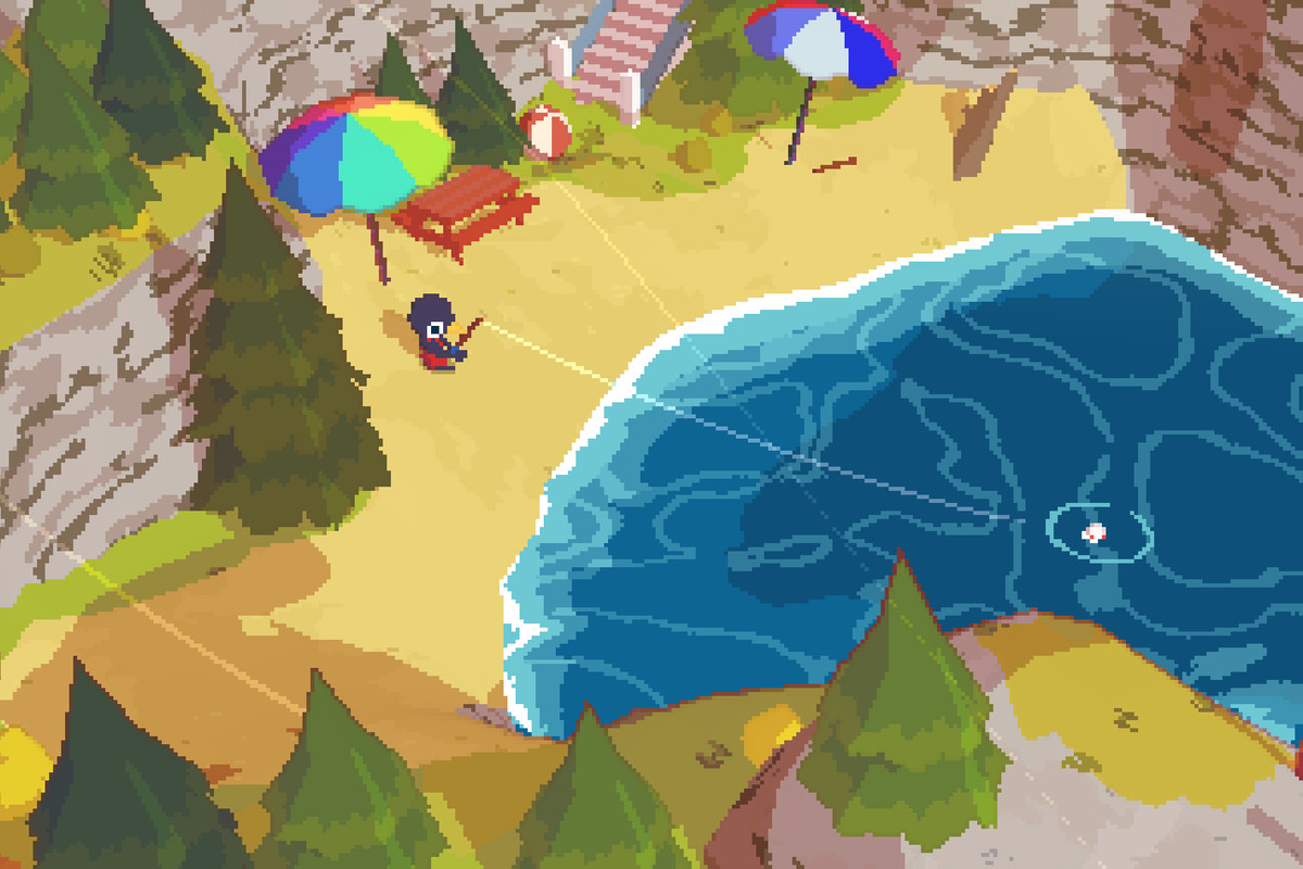 A pixel bird fishes in a deep blue lake in the mountains in A Short Hike,