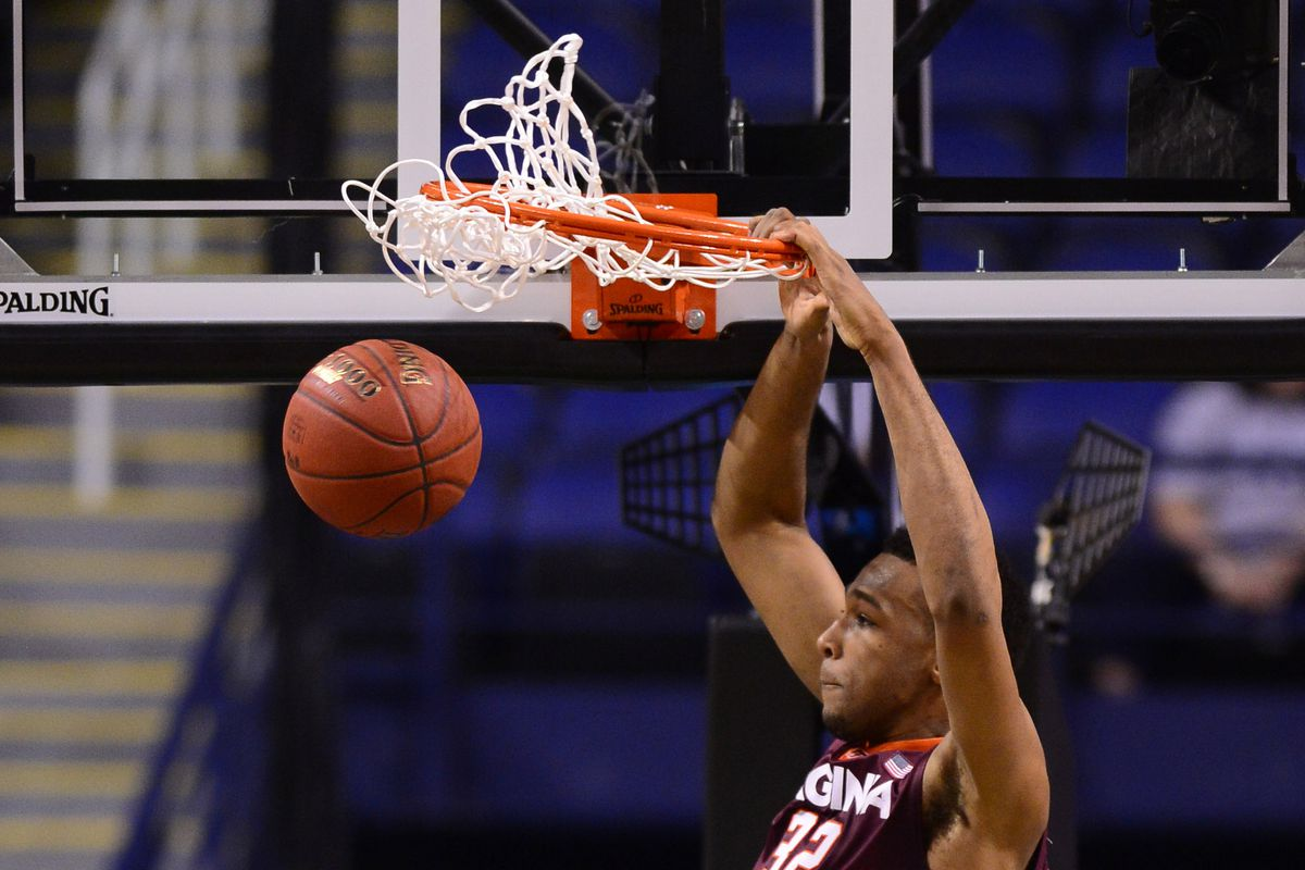 New Buckeye Trevor Thompson throws down a dunk during his time at Virginia Tech
