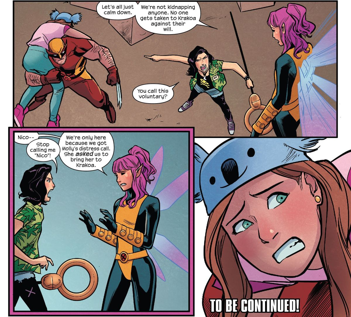 """The Runaways fight Wolverine and Pixie to a standstill to keep them from taking Molly to Krakoa against her will. Pixie exclaims """"We're only here because we got Molly's distress call. She asked us to bring her to Krakoa,"""" in Runaways #33, Marvel Comics (2021)."""
