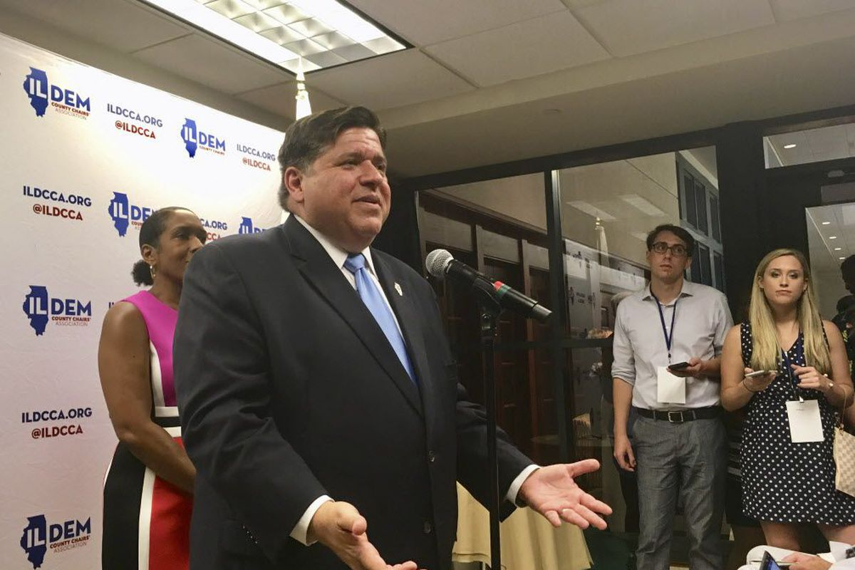 J.B. Pritzker, then Democratic nominee for Illinois governor, addresses reporters after party faithful rallied at a brunch in Springfield prior to Democrat Day at the Illinois State Fair in 2018.