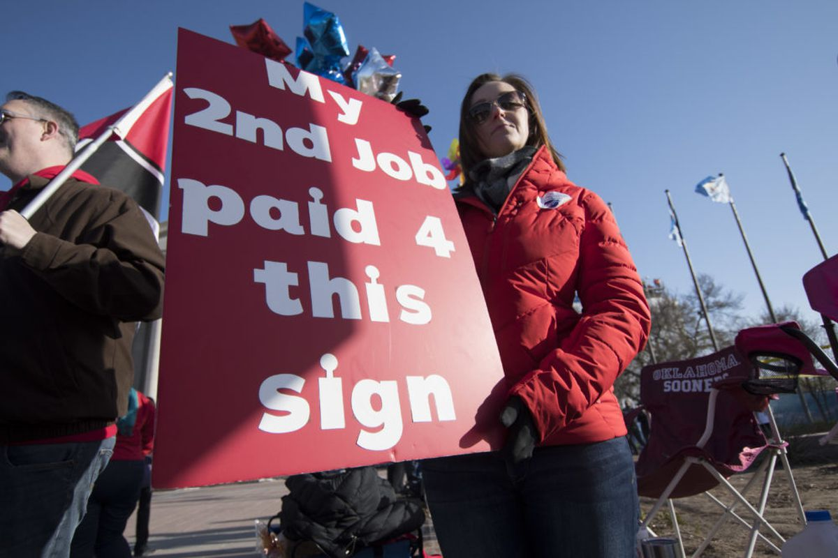 Teachers rally at the state capitol in Oklahoma City, Oklahoma on April 4, 2018. (J PAT CARTER/AFP/Getty Images)