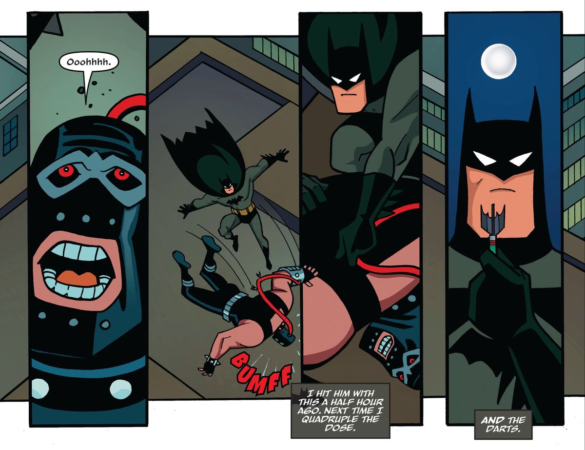 """After Bane falls unconscious, Batman plucks a dart from his back. """"I hit him with this a half hour ago,"""" says Batman's narration, """"Next time I quadruple the dose. And the darts."""" In Batman: The Adventures Continue #1, DC Comics (2020)."""